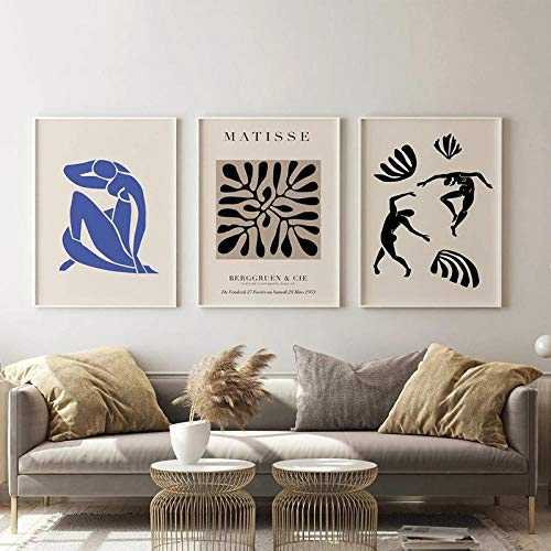 HNZKly Living Room Wall Decor Matisse Art Posters Prints Modern Abstract Matisse Pintura Minimalist Wall Art Living Room Home Decor 3 Set 40x50cmx3 / Unframed Art