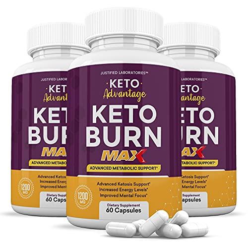 (3 Pack) Keto Advantage Keto Burn Max 1200MG Keto Pills Includes Apple Cider Vinegar goBHB Exogenous Ketones Advanced Ketogenic Supplement Ketosis Support for Men Women 180 Capsules