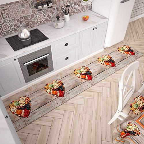 PETTI Artigiani Italiani - Tappeto Cucina Passatoia Cucina Antiscivolo e Lavabile 52x240 cm Disegno Frutta Secca 100% Made in Italy