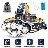 Linterna Frontal Led Recargable, Linterna Cabeza con 8 Modos, USB Súper...