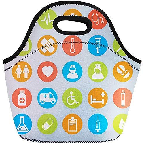 Lunch Tassen Ambulance Abstract Medische 25 Hart Geneesmiddelen Oog Ziekenhuis Thermometer Neopreen Lunch Bag Lunchbox Tote Bag Draagbare Picknick Bag Koeltas