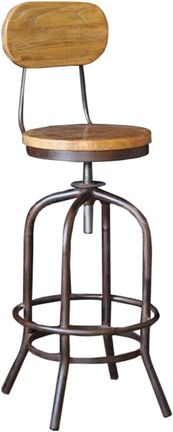 Barstools - Industrial Style Bar Stool Retro High Foot Chair Cafe Counter Iron Art Solid Wood Seat Chair Lift Belt Back Household 0425A