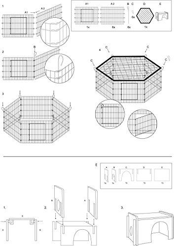 dobar 80605 Großes Kaninchengehege aus 6 Elementen, mit Nylon Netz und Holzhaus, XXL Freilauf für Hasen, Freilaufgehege XL, 165 x 145 x 60 cm, Silber - 6