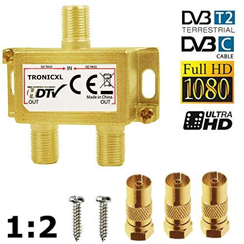 TronicXL Premium Koax Antennenverteiler HD 3D 4K Verteiler Weiche Splitter zb für DVBT DVBT2 DVBC SAT Unicable Kabelfernsehen Unitymedia Vodafone Sky NetAachen Primacom Kabelfernseh Digital HDTV