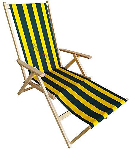 Sdraio PRENDISOLE spiaggina in legno con prolunga POGGIAPIEDI reclinabile 2 posizioni (Righe Verde/Giallo)