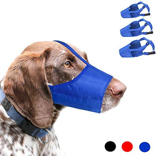 Museruola per Cani, 1 Set di 3 PZ Regolabile in Nylon per Cani di Piccole Medie e Grandi Dimensioni per Prevenire Morsi, Abbaio e Rosicchio (S,Blu)