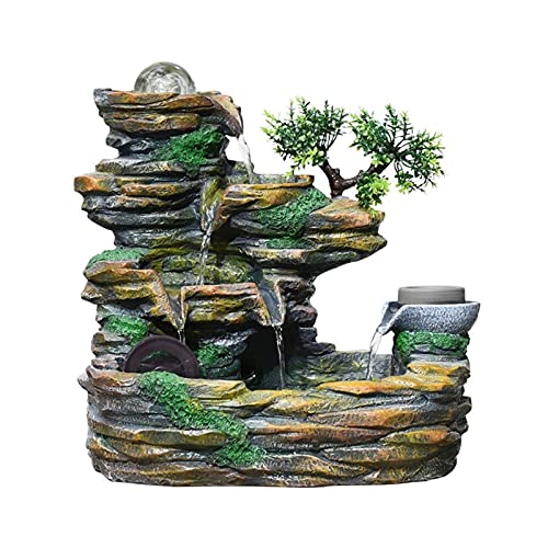 フェイクスレート 石の滝 16.9インチロッキーテーブルレンタップ噴水ハイホイール風景装飾盆栽樹脂滝噴水リビングルームデスクトップオフィスの装飾 卓上噴水