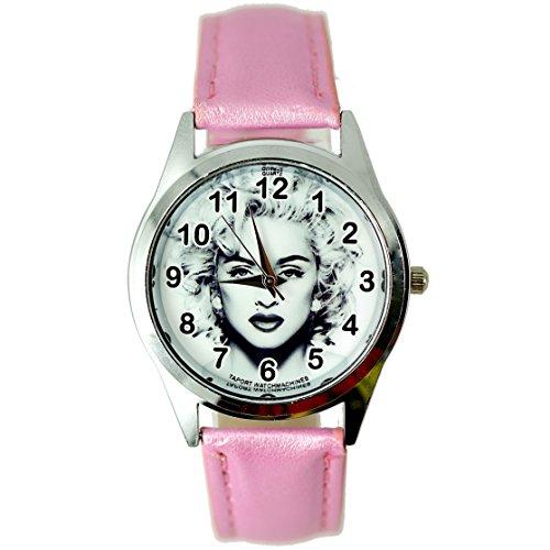 taport® Madonna Bergkristall rund Armbanduhr Pink Echt Leder Band BW Zifferblatt + Gratis Ersatz Batterie + Gratis Geschenkverpackung