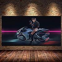 プリント壁アートフューチャースチームシティスポーツカーポスターゲームキャンバス絵画ゲームプレーヤールーム男の子の女の子寝室装飾なし (Color : 10, Size (Inch) : 20x40cm)