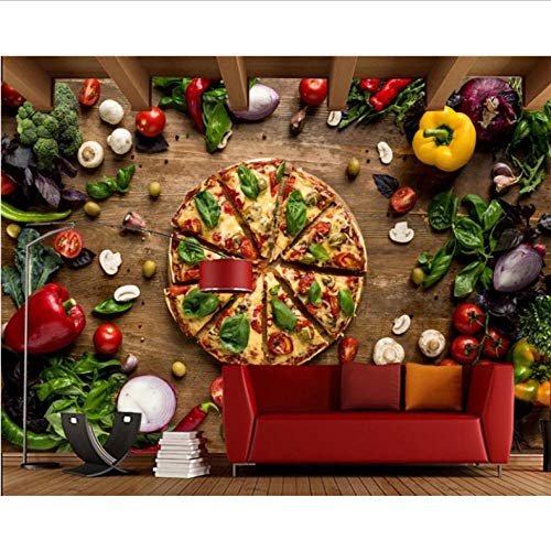 Dalxsh Fast Food Pizza groente voedsel 3D behang woonkamer keuken Fast Food Boutique Café restaurant KTV bar muurschildering 400 x 280 cm
