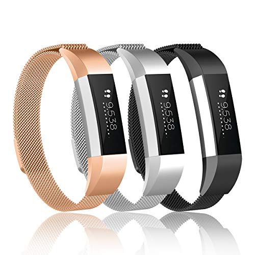 Valband Metal Loop Bands Compatible with Fitbit Alta/Fitbit Alta HR, Stainless Steel Mesh Megnet Lock Replacement Wristbands for Women Men (Large)