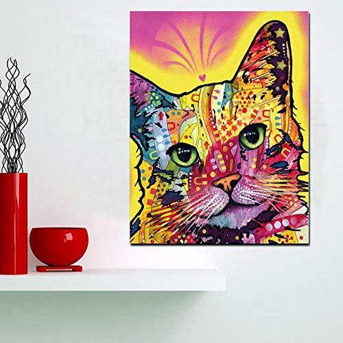 wZUN Impresión HD Pintura al óleo Abstracta de la Acuarela del Gato en la Lona Imagen de la Pared...