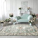 TALETA Greenish - Alfombra con diseño de flores, estilo oriental, suave, vintage, pelo corto para salón, color verde, tamaño: 160 x 230 cm