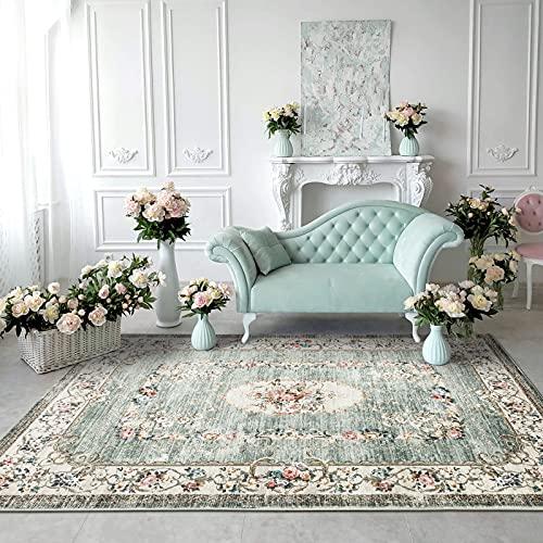 Taleta - Tappeto floreale, stile orientale con fiori, da soggiorno, verde