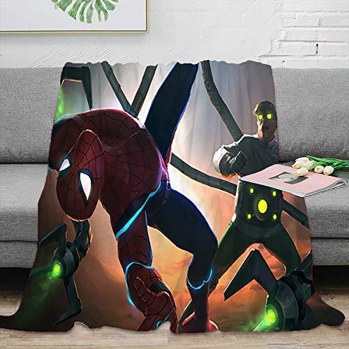 Avengers Superhero Kids Fleece Blanket Doctor Octopus vs Spiderman Throw Size Lightweight Microfiber for The Bed Extra Soft Brush Fabric 60 x 50 inch
