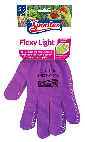 Spontex Flexy Light, flexible Damenhandschuhe für Garten- und Hobbyarbeiten, mit Anti-Rutsch-Noppen, aus Textilstrick, Größe S, 1 Paar