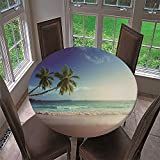 Chickwin Round Fitted Tablecloth Elastic Edged Waterproof Polyester Summer 3D Beach Printed Wipe Clean Table Cover, Kitchen Patio Dining Room Table Protector (C,59 inch)