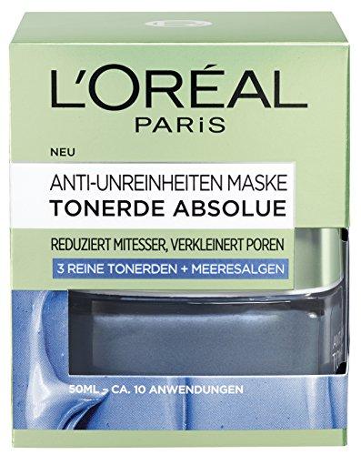 L'Oréal Paris Tonerde Absolue Anti-Unreinheiten Maske, Gesichtsmaske mit reiner Tonerde und Meeresalgen-Extrakt, reduziert Mitesser und verkleinert Poren, 50ml