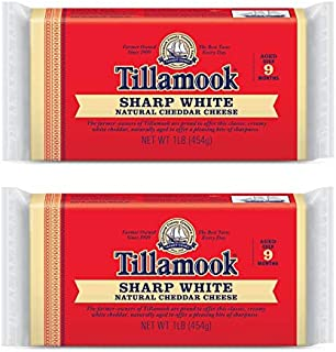 Tillamook Sharp White Cheddar Cheese 1 lb Loaf (Pack of 2)