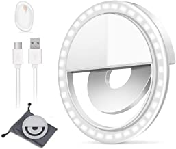 Adjustable Brightness Phone Camera Circle Light for iPhone X Xr Xs Max 8 Plus 11 Pro Android iPad Laptop Upgraded Version 3 Lighting Modes Rechargeable Clip on Selfie Fill Light Selfie Ring Light