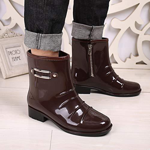 Regenstiefel, Herren Braun Mode Schuhe Stiefel Regen Wasser Im Rohr Regen Stiefel rutschfeste Wasserdicht Angeln Kunststoff Überschuhe Gummi Schuhe Seite Reißverschluss, 39