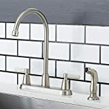 VAPSINT Modern Commercial Stainless Steel 2 Handle Brushed Nickel Kitchen Faucet, Kitchen Sink Faucets with Side Sprayer for Kitchen Sinks
