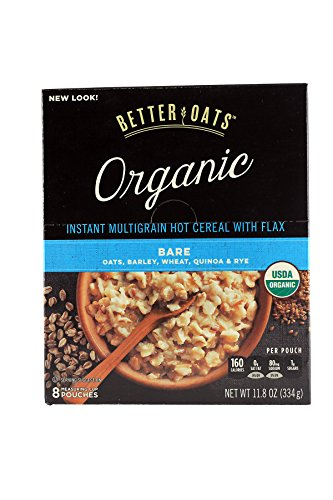 Better Oats Raw Pure amp Simple Organic Bare Instant Multigrain Hot Cereal with Flax 8 Pouches Pack of 2