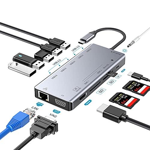 USB C Docking Station, 13 in 1 USB Type C Hub Adapter mit RJ45 Gigabit Ethernet, 4K HDMI, VGA, Type-C PD, 3 USB 2.0, 2 USB 3.0, SD/TF Kartenleser, 3.5mm Audio für MacBook und mehr Typ C Geräte (Gray)