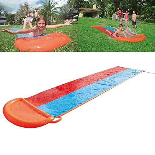 18FT Doppelt Hinterhof Wasserrutschen für Kinder,Doppelt RasenWasserrutsche für Kinder,großes,dickes Surfbrett mit doppelter Rutschbahn Wasserspielzeug Eingebauter Sprinkler für Familienaktivitäten