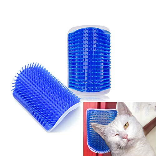 Hub's Gadget 2 Pack Cat Self Groomer, Wall Corner Massage Comb Grooming Brush with Catnip Pouch, Blue