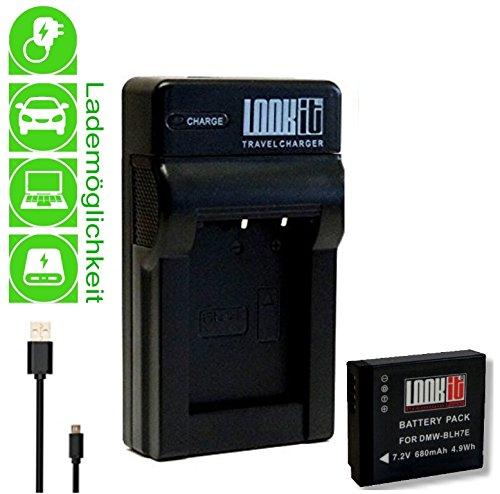 LOOKit Chargeur + 1x LOOKit® Batterie BLH7 pour Panasonic Lumix DMC LX15 GX800