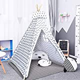 COSTWAY Kids Teepee Tent with Floor Mat and Carry Bag, Cotton Canvas & Pine Poles Classic Indian Play Tents, Portable Children Wigwam Playhouse for Indoor Outdoor