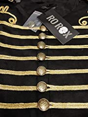 Ro Rox Men's Black Gold Steampunk Gothic Military Sleeveless Parade Jacket, Black & Gold, Men's XXXL #2