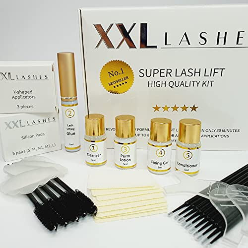 Kit Super Lash Lift XXL Lashes, set per il sollevamento e trattamento delle ciglia, bestseller, set da 10 pezzi che durano per circa 12-15 applicazioni, inclusa un manuale