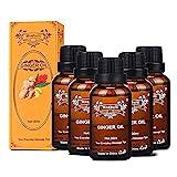 Aceite de jengibre, aceite de masaje SPA, aceite esencial vegetal, utilizado para el drenaje linfático, el aceite de masaje corporal promueve la circulación sanguínea y alivia el dolor muscular