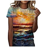 DESKABLY Cute Summer Tops for Women Plus Size Tops O-Neck Print Short Sleeve T-Shirt Tops Casual Loose Blouse Tops Orange