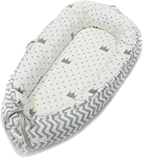 Newborn Baby Lounger,Hbitsae Multifunctional Baby Nest, Portable Soft Breathable Baby 100% Cotton Swaddling Wrap for Newborn Babies Bionic Bed(Gray) (White)