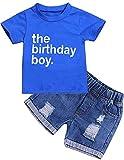 The Birthday Boy Clothes Baby Boy Short Sleeve Letter Print Shirt Denim Short Pants Cake Smash Outfit Set (Blue, 12-18 Months)