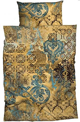 sister s. Bettwäsche Anessa Gold Petrol 135 cm x 200 cm orientalisch Ornamente absolut hip Reine Baumwolle Satin Bettwäsche-Set