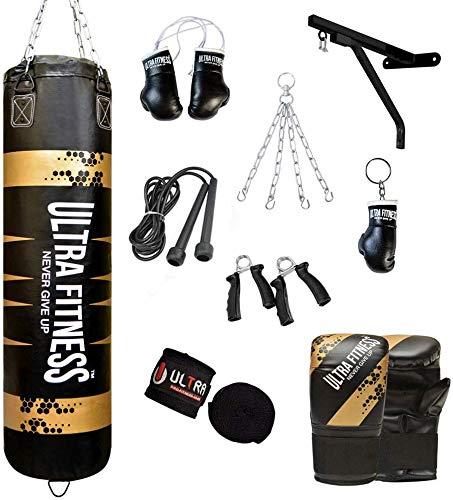 ULTRA FITNESS Lot de sacs de frappe remplis avec gants d'entraînement, chaîne en acier et support mural 120 x 30 cm