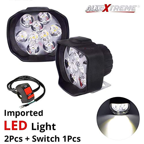AllExtreme EX9FWS2 Imported 9 LED Fog Light Spot Beam Waterproof Heavy Duty Pod Driving Work Lamp with Handlebar Switch for Motorcycle Bike Car and SUV (15W, White Light, 2 PCS)