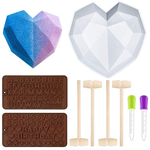 Geometric Heart Mold Diamond Silicone Not Sticky Chocolate Mold 2 Pieces Letter Number Shaped Mold 4 Pieces Wooden Hammer Heart Molds For Chocolate For Home Kitchen Diy Baking Tools