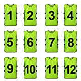 TopTie Sets of 12 (#1-12, 13-24) Numbered / Blank Training Vest, Soccer Pinnies-Green (#1 to 12)-Adult