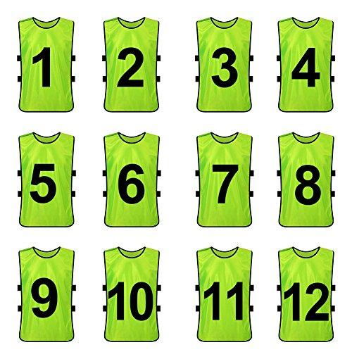 TopTie Chaleco de Entrenamiento numerado/en Blanco Pinnies de Futbol Conjuntos de 12 Green (#1 to 12-Adult