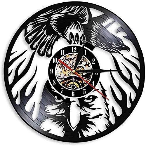 CCGGG Flying Bald Eagle Animal Colgante de Pared Arte Ave de Presa dignidad del águila en el Cielo Eagle Bird Disco de Vinilo Retro Reloj de Pared decoración del hogar
