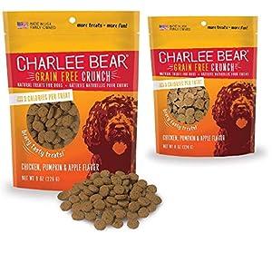 Charlee Bear Crunch Chicken, Pumpkin & Apple Flavor Dog Treat and Snack (2 Pack) 8 oz Each