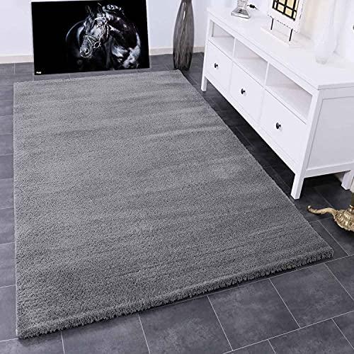 VIMODA Teppich Wohnzimmer in Grau Flauschig Microfaser Dicht gewebt-Weich, Ma�e:120x170 cm