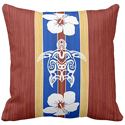 Throw Pillow Cover Vintage Longboard Tribal Honu Fake Surfboard Retro Surf Pillow Case Funda de Almohada