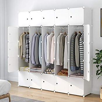 Aeitc Portable Wardrobe Closets 14 x18  Depth Cube Storage Bedroom Armoire Storage Organizer with Doors 25 Cube White