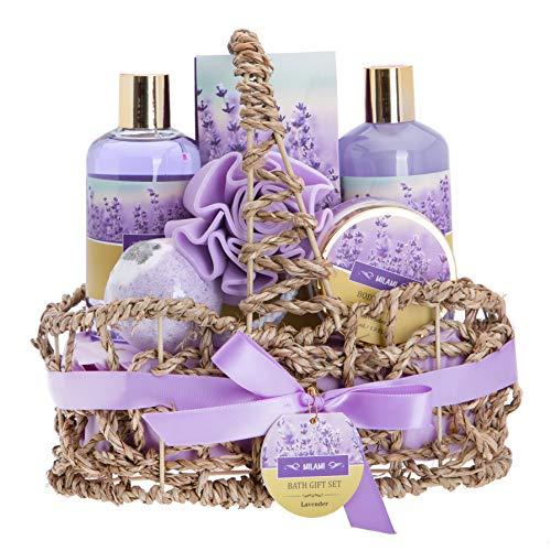 Amazon.com : Lavender Bath Spa Gift Basket with Relaxation Gifts for Women: 7 Pc Bath Spa Kit Includes Lavender Body Lotion, Bubble Bath, Shower Gel, Bath Salt, Bath Bomb, Flower Loofah and Basket for...